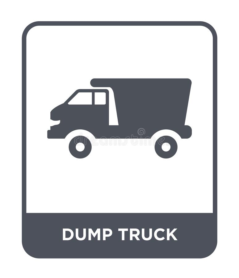 εικονίδιο φορτηγών απορρίψεων στο καθιερώνον τη μόδα ύφος σχεδίου εικονίδιο φορτηγών απορρίψεων που απομονώνεται στο άσπρο υπόβαθ ελεύθερη απεικόνιση δικαιώματος