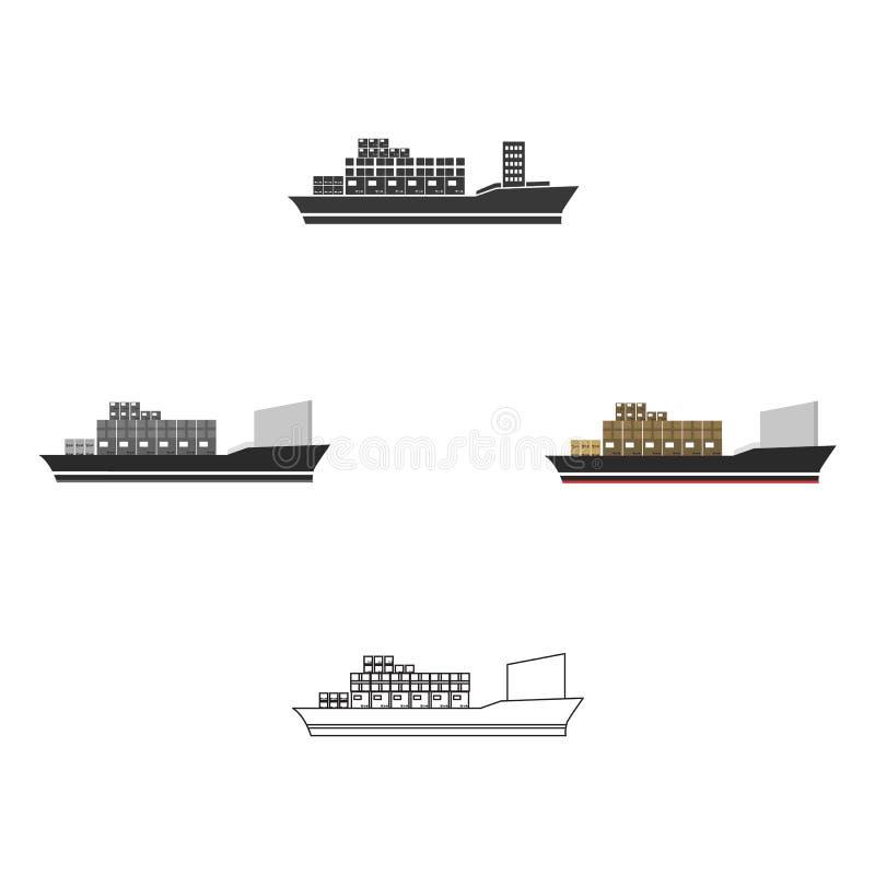 Εικονίδιο φορτηγών πλοίων της διανυσματικής απεικόνισης για τον Ιστό και κινητός ελεύθερη απεικόνιση δικαιώματος
