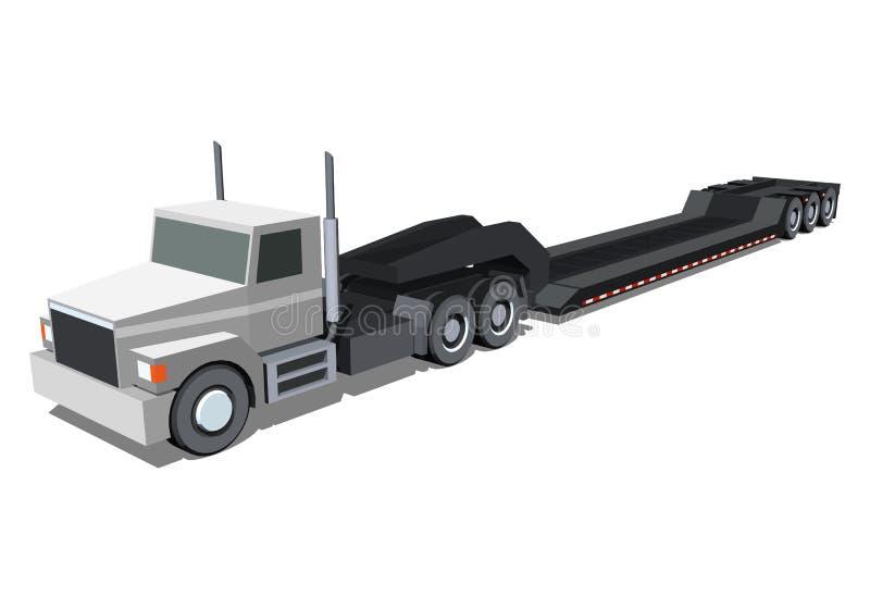 Εικονίδιο φορτηγών ρυμουλκών φορτωτών Lowboy απεικόνιση αποθεμάτων