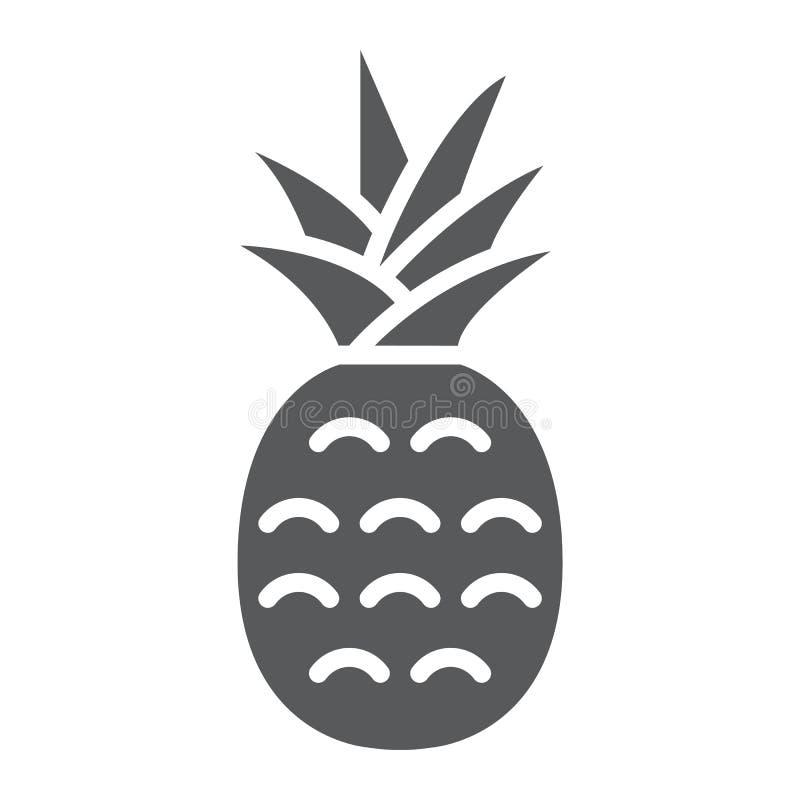 Εικονίδιο, φρούτα και ανανάς ανανά glyph διανυσματική απεικόνιση