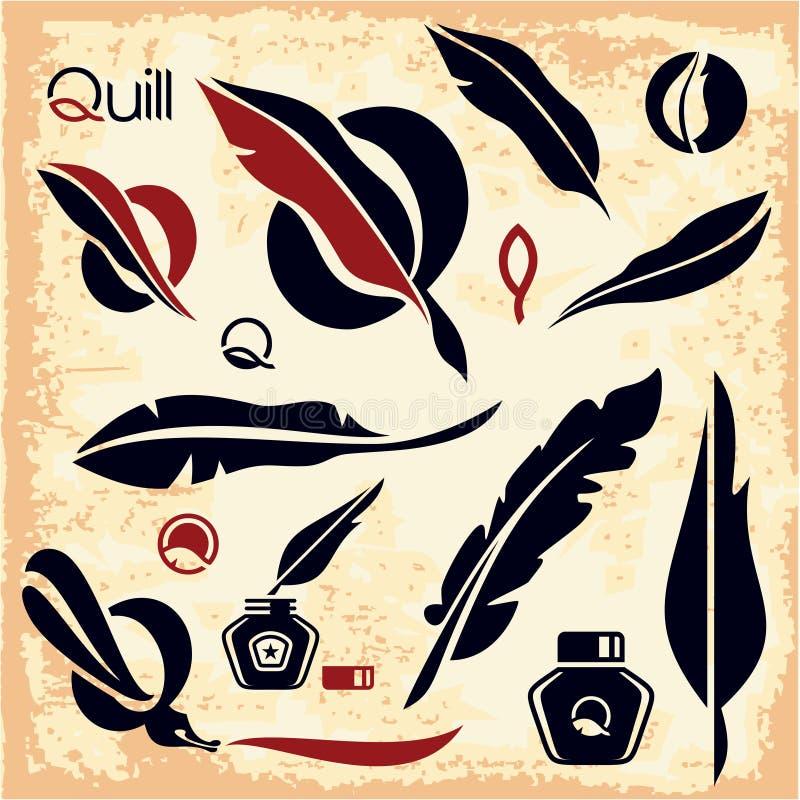 Εικονίδιο φτερών Λογότυπο καλαμιών μελάνι απεικόνιση αποθεμάτων