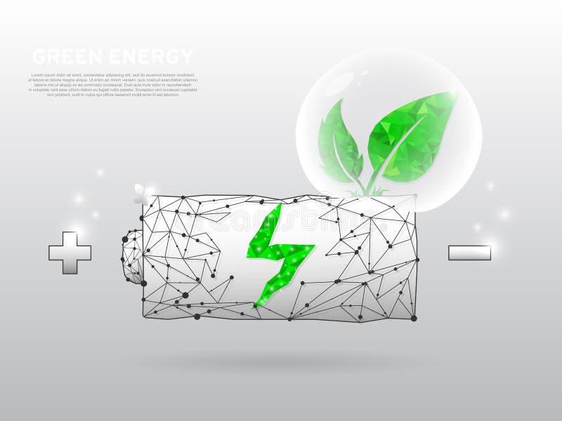 Εικονίδιο φόρτισης μπαταριών με ένα πράσινο φύλλο που αυξάνεται από το στο άσπρο υπόβαθρο Χαμηλό πολυ wireframe, polygonal διάνυσ ελεύθερη απεικόνιση δικαιώματος
