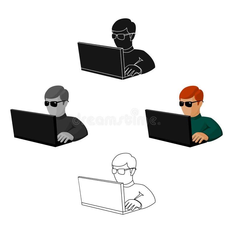 Εικονίδιο χάκερ υπολογιστών στα κινούμενα σχέδια, μαύρο ύφος που απομονώνεται στο άσπρο υπόβαθρο Χάκερ και διάνυσμα αποθεμάτων συ ελεύθερη απεικόνιση δικαιώματος