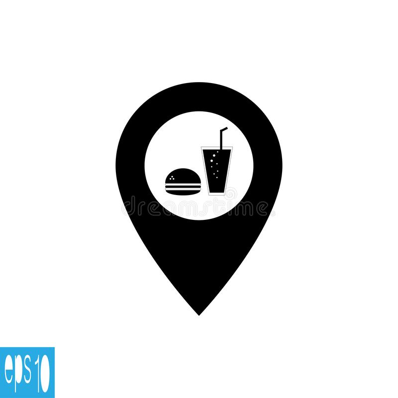 Εικονίδιο χαρτών με τα τρόφιμα, γρήγορο φαγητό - διανυσματική απεικόνιση απεικόνιση αποθεμάτων