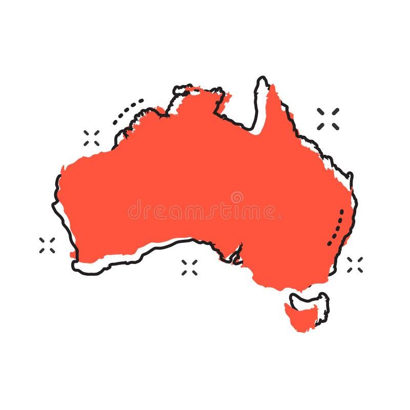 Εικονίδιο χαρτών της Αυστραλίας κινούμενων σχεδίων στο κωμικό ύφος Illustratio της Αυστραλίας απεικόνιση αποθεμάτων