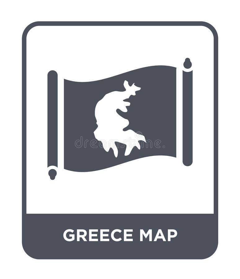 εικονίδιο χαρτών της Ελλάδας στο καθιερώνον τη μόδα ύφος σχεδίου εικονίδιο χαρτών της Ελλάδας που απομονώνεται στο άσπρο υπόβαθρο διανυσματική απεικόνιση