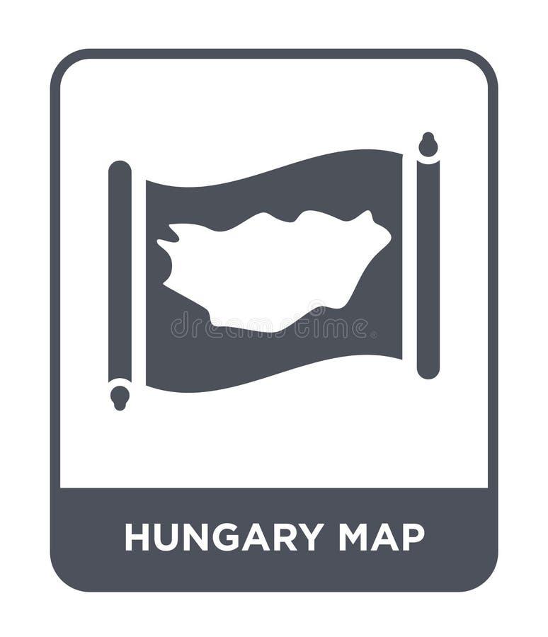 εικονίδιο χαρτών της Ουγγαρίας στο καθιερώνον τη μόδα ύφος σχεδίου εικονίδιο χαρτών της Ουγγαρίας που απομονώνεται στο άσπρο υπόβ διανυσματική απεικόνιση