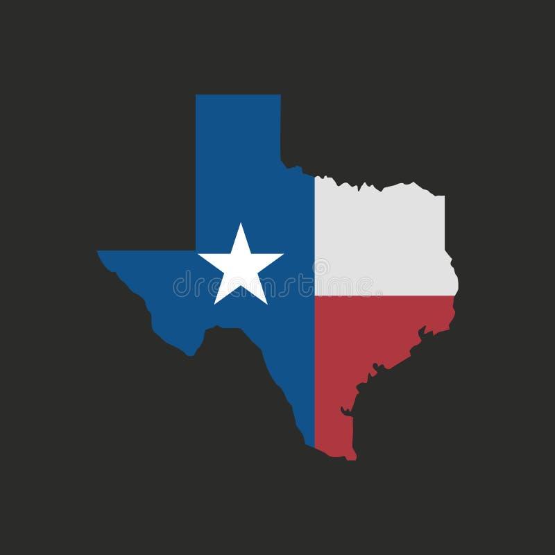 Εικονίδιο χαρτών του Τέξας που απομονώνεται σε ένα μαύρο υπόβαθρο r διανυσματική απεικόνιση