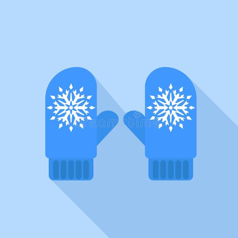 Εικονίδιο χειμερινών μπλε γαντιών, επίπεδο ύφος ελεύθερη απεικόνιση δικαιώματος