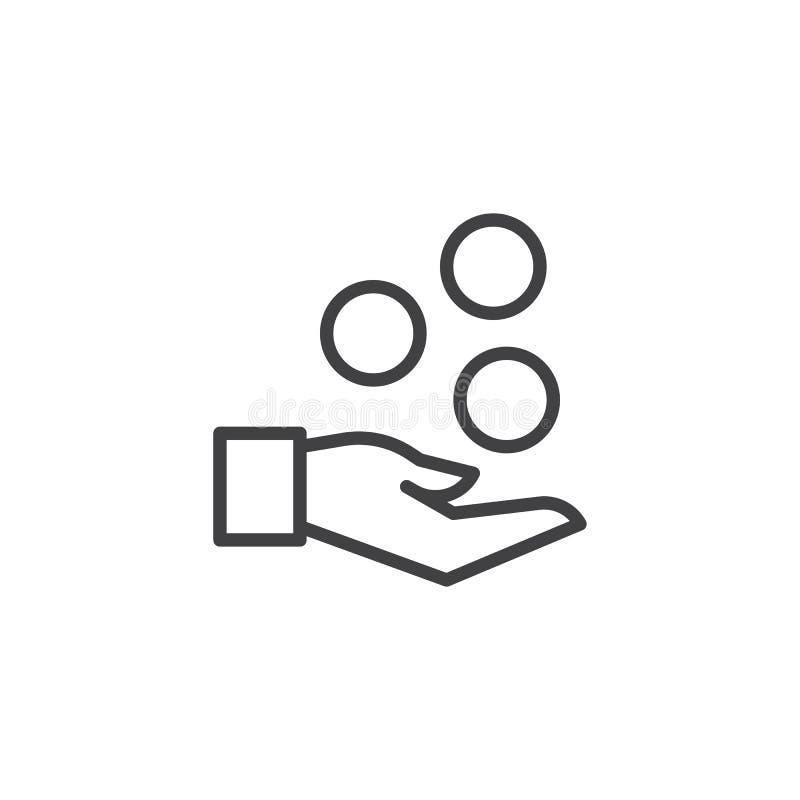 Εικονίδιο χεριών και περιλήψεων νομισμάτων ελεύθερη απεικόνιση δικαιώματος
