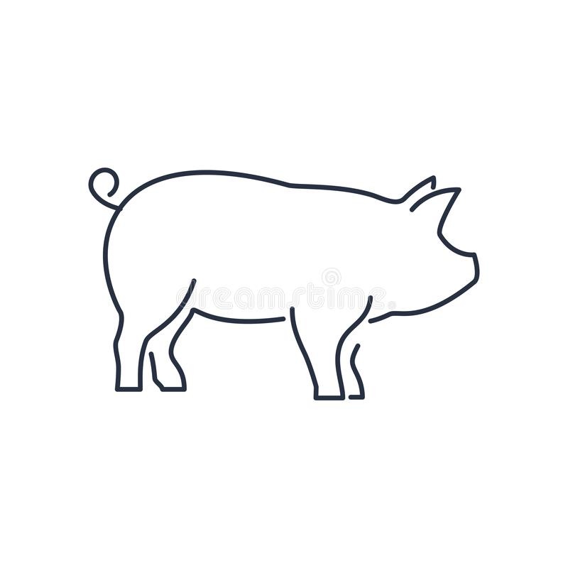 Εικονίδιο χοίρων, piggy γραμμικό σημάδι σκιαγραφιών που απομονώνεται στο άσπρο υπόβαθρο - editable διανυσματική απεικόνιση eps10 απεικόνιση αποθεμάτων