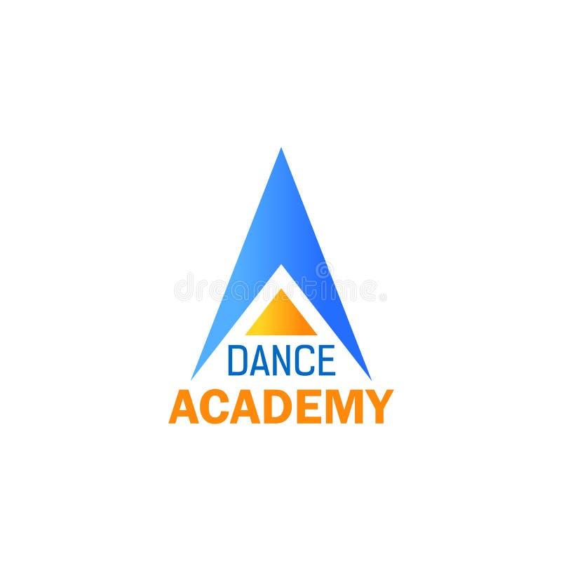 Εικονίδιο χορού για το στούντιο μπαλέτου, σχέδιο αθλητικών σχολείων διανυσματική απεικόνιση