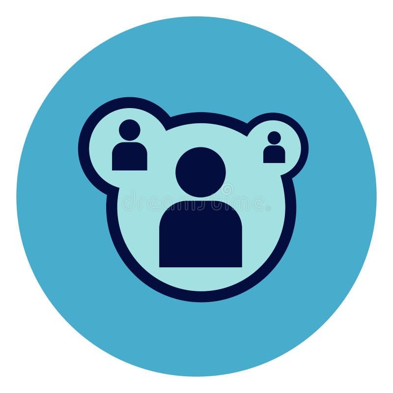 Εικονίδιο χρηστών ή μελών στο στρογγυλό μπλε υπόβαθρο διανυσματική απεικόνιση