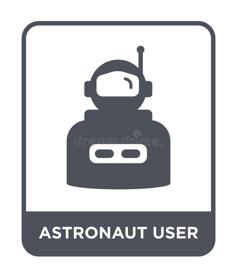εικονίδιο χρηστών αστροναυτών στο καθιερώνον τη μόδα ύφος σχεδίου εικονίδιο χρηστών αστροναυτών που απομονώνεται στο άσπρο υπόβαθ απεικόνιση αποθεμάτων
