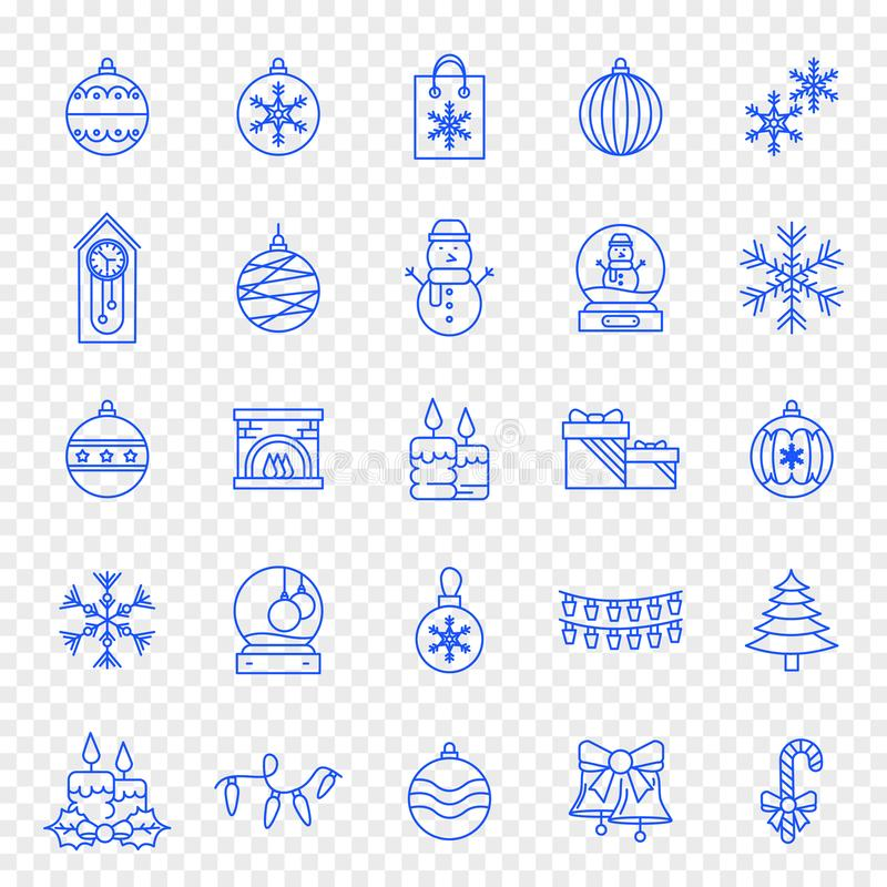 Εικονίδιο Χριστουγέννων καθορισμένο - 25 μπλε Χριστούγεννα και νέα εικονίδια έτους διανυσματική απεικόνιση