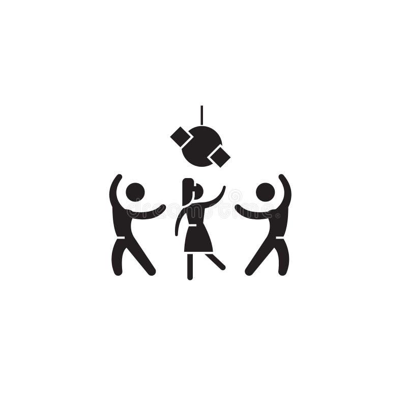 Εικονίδιο χρονικής μαύρο διανυσματικό έννοιας κόμματος Χρονική επίπεδη απεικόνιση κόμματος, σημάδι διανυσματική απεικόνιση