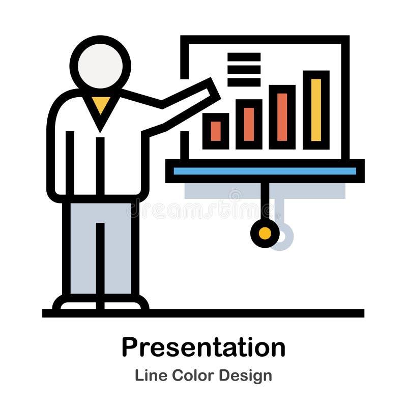 Εικονίδιο χρώματος γραμμών παρουσίασης διανυσματική απεικόνιση