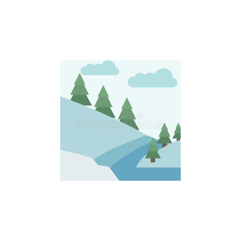 Εικονίδιο χρώματος ποταμών Στοιχεία των πολυ χρωματισμένων εικονιδίων χειμερινών χωρών των θαυμάτων Γραφικό εικονίδιο σχεδίου εξα απεικόνιση αποθεμάτων