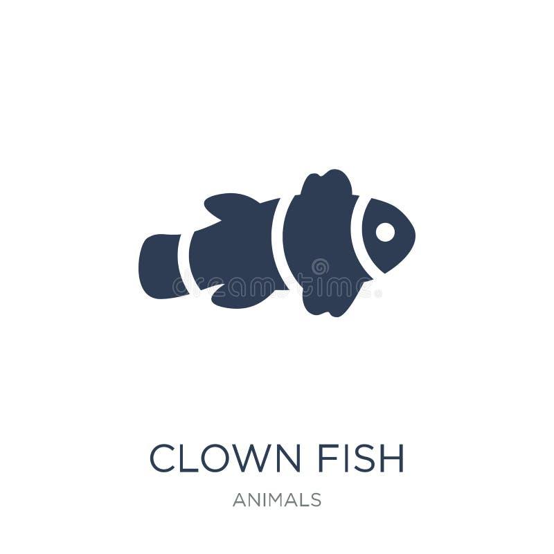 Εικονίδιο ψαριών κλόουν Καθιερώνον τη μόδα επίπεδο διανυσματικό εικονίδιο ψαριών κλόουν στη λευκιά ΤΣΕ απεικόνιση αποθεμάτων