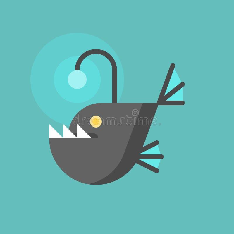 Εικονίδιο ψαριών ψαράδων απεικόνιση αποθεμάτων