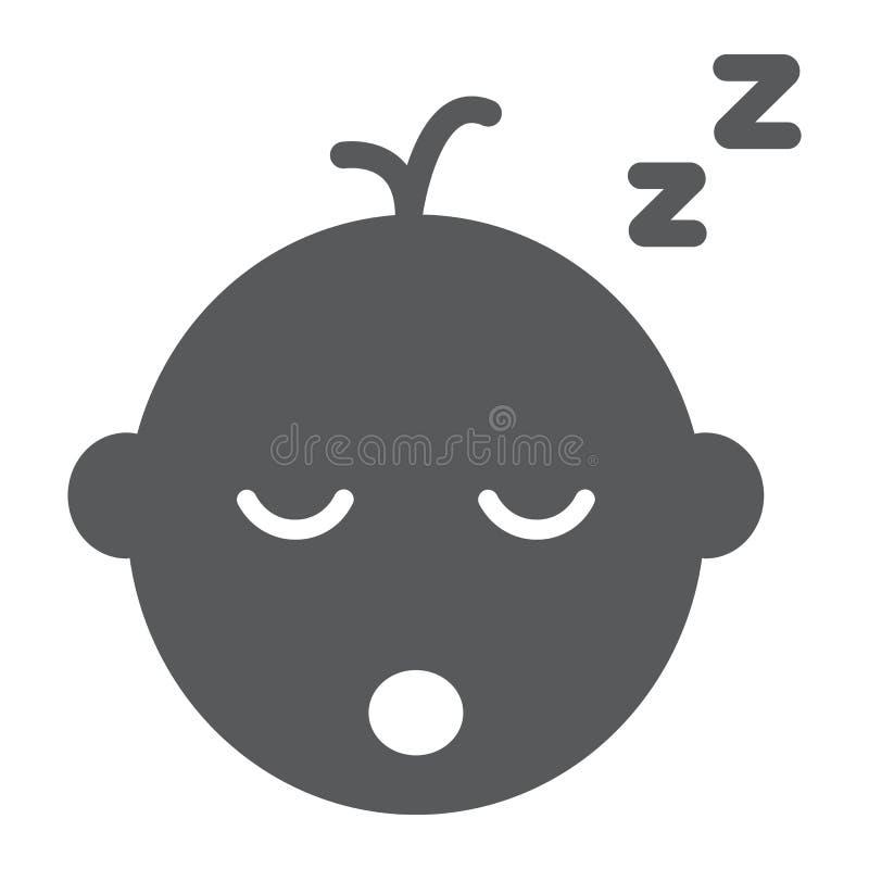 Εικονίδιο ύπνου αγοράκι glyph, παιδί και ύπνος, σημάδι παιδιών, διανυσματική γραφική παράσταση, ένα στερεό σχέδιο σε ένα άσπρο υπ απεικόνιση αποθεμάτων