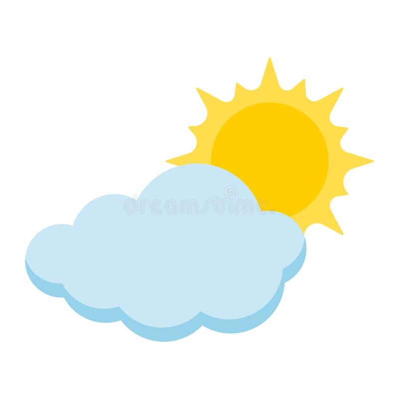 Εικονίδιο ύφους κινούμενων σχεδίων του ήλιου με το σύννεφο που απομονώνεται στο άσπρο υπόβαθρο ελεύθερη απεικόνιση δικαιώματος
