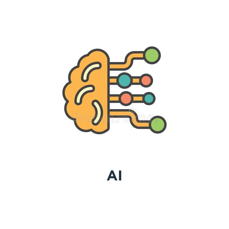 Εικονίδιο AI σχέδιο συμβόλων έννοιας τεχνητής νοημοσύνης, εγκέφαλος με τους ηλεκτρονικούς νευρώνες, μηχανή και βαθιά εκμάθηση, υπ απεικόνιση αποθεμάτων