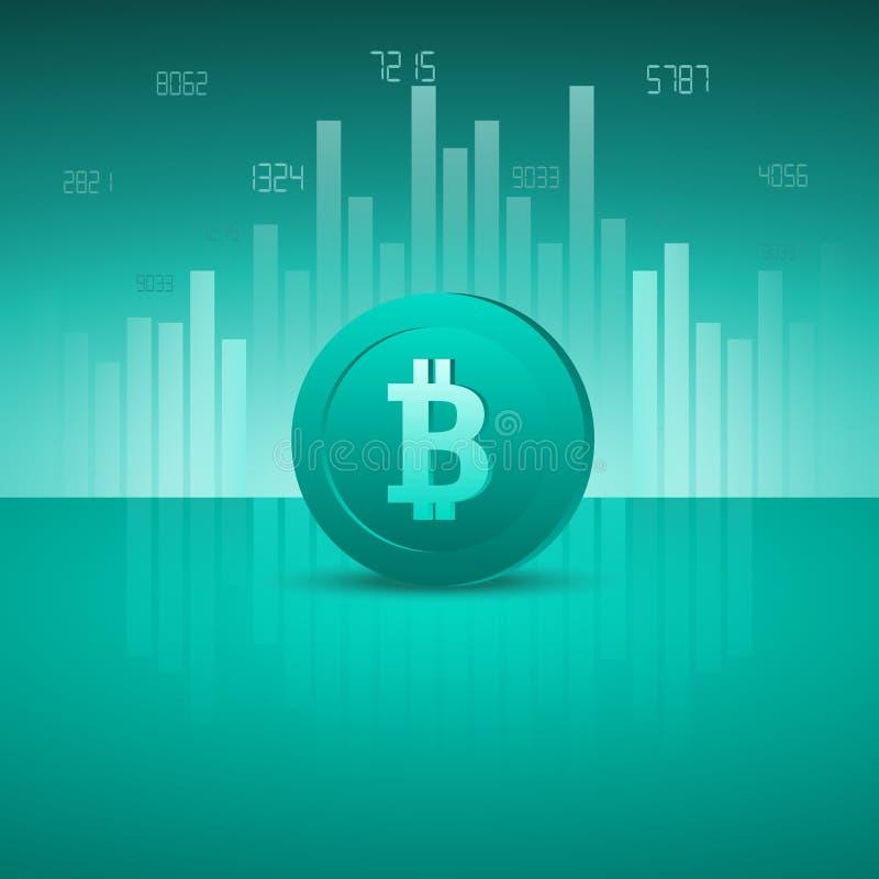 Εικονίδιο Bitcoin Έννοια επιχειρήσεων, χρηματοδότησης και τεχνολογίας μπλε διάνυσμα ουρανού ουράνιων τόξων εικόνας σύννεφων ελεύθερη απεικόνιση δικαιώματος