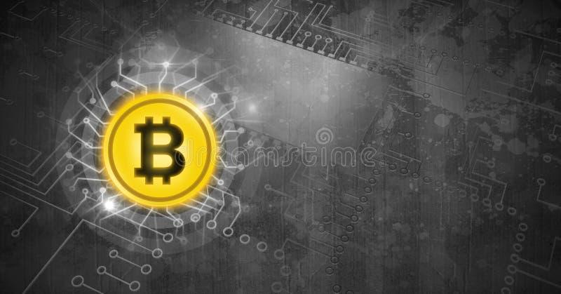 Εικονίδιο Bitcoin στον πίνακα κυκλωμάτων πετρών grunge απεικόνιση αποθεμάτων
