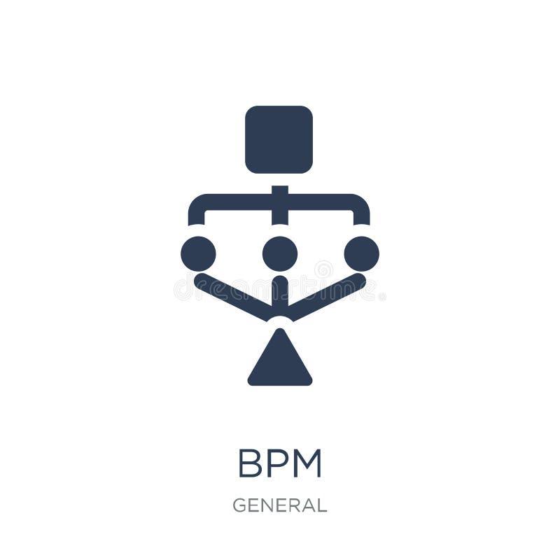Εικονίδιο BPM Καθιερώνον τη μόδα επίπεδο διανυσματικό εικονίδιο bpm στο άσπρο υπόβαθρο από το γ διανυσματική απεικόνιση