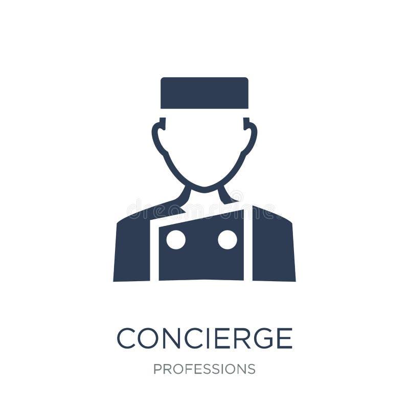 Εικονίδιο Concierge Καθιερώνον τη μόδα επίπεδο διανυσματικό εικονίδιο Concierge στο άσπρο backg διανυσματική απεικόνιση