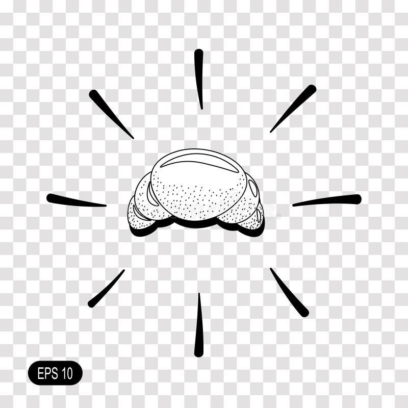 Εικονίδιο Croissant στο διαφανές υπόβαθρο Μαύρο σύμβολο για το σχέδιό σας ελεύθερη απεικόνιση δικαιώματος