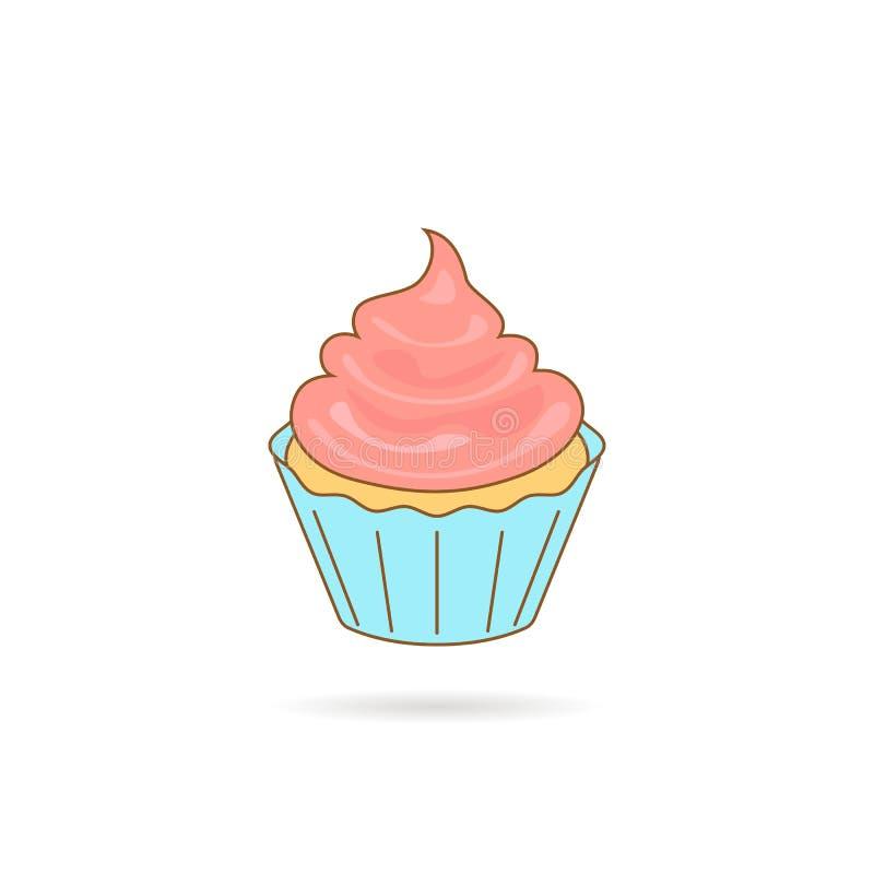 Εικονίδιο Cupcake με τη ρόδινη κρέμα διανυσματική απεικόνιση