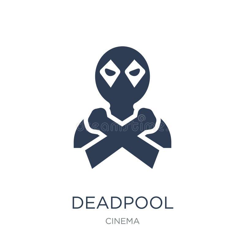 εικονίδιο deadpool Καθιερώνον τη μόδα επίπεδο διανυσματικό εικονίδιο deadpool στο άσπρο backgro ελεύθερη απεικόνιση δικαιώματος