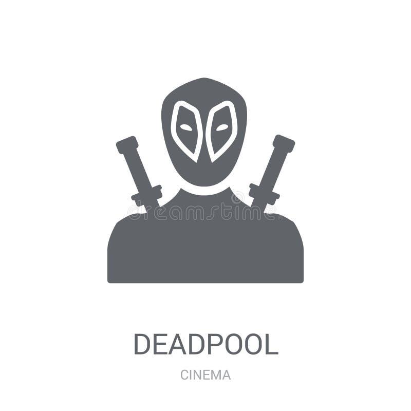 εικονίδιο deadpool Καθιερώνουσα τη μόδα έννοια λογότυπων deadpool στο άσπρο υπόβαθρο διανυσματική απεικόνιση