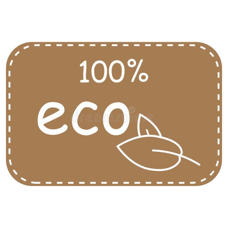 εικονίδιο eco 100 τοις εκατό Διανυσματική απεικόνιση εικονιδίων eco φύλλων που απομονώνεται στο μπεζ υπόβαθρο ελεύθερη απεικόνιση δικαιώματος