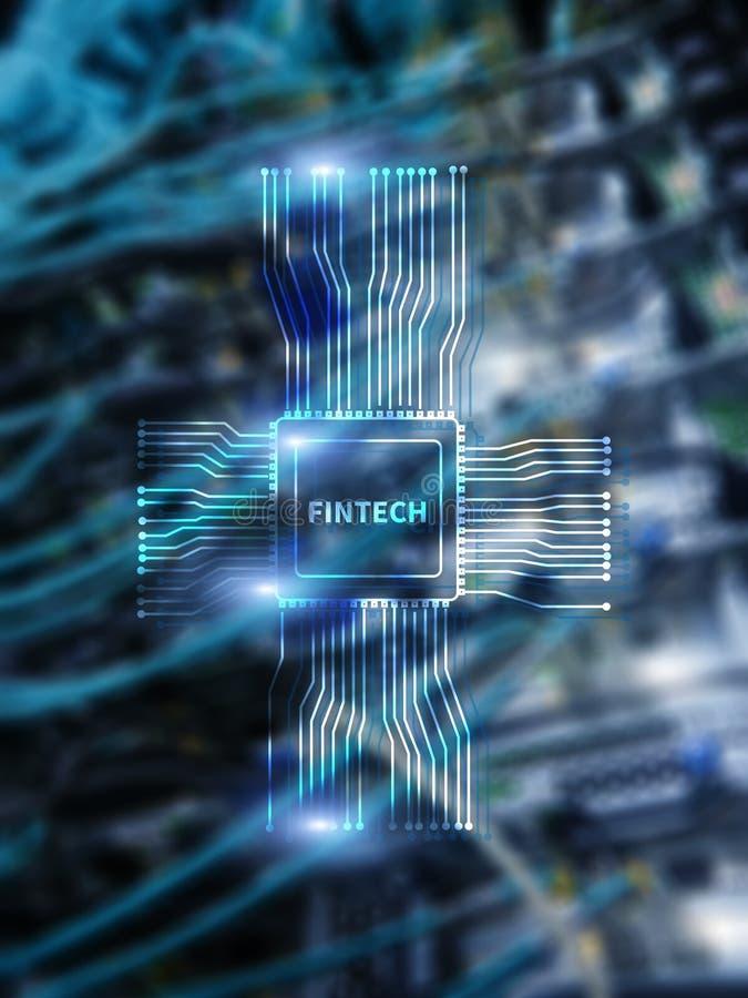 Εικονίδιο Fintech στο αφηρημένο οικονομικό υπόβαθρο τεχνολογίας Εικονίδιο ΚΜΕ στο θολωμένο κέντρο δεδομένων υπόβαθρο δωματίων κεν απεικόνιση αποθεμάτων