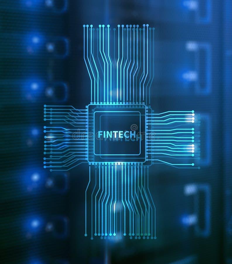 Εικονίδιο Fintech στο αφηρημένο οικονομικό υπόβαθρο τεχνολογίας Εικονίδιο ΚΜΕ στο θολωμένο κέντρο δεδομένων υπόβαθρο δωματίων κεν στοκ εικόνα με δικαίωμα ελεύθερης χρήσης