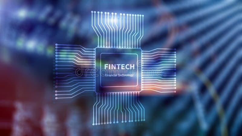 Εικονίδιο Fintech στο αφηρημένο οικονομικό υπόβαθρο τεχνολογίας Εικονίδιο ΚΜΕ στο θολωμένο κέντρο δεδομένων υπόβαθρο δωματίων κεν ελεύθερη απεικόνιση δικαιώματος