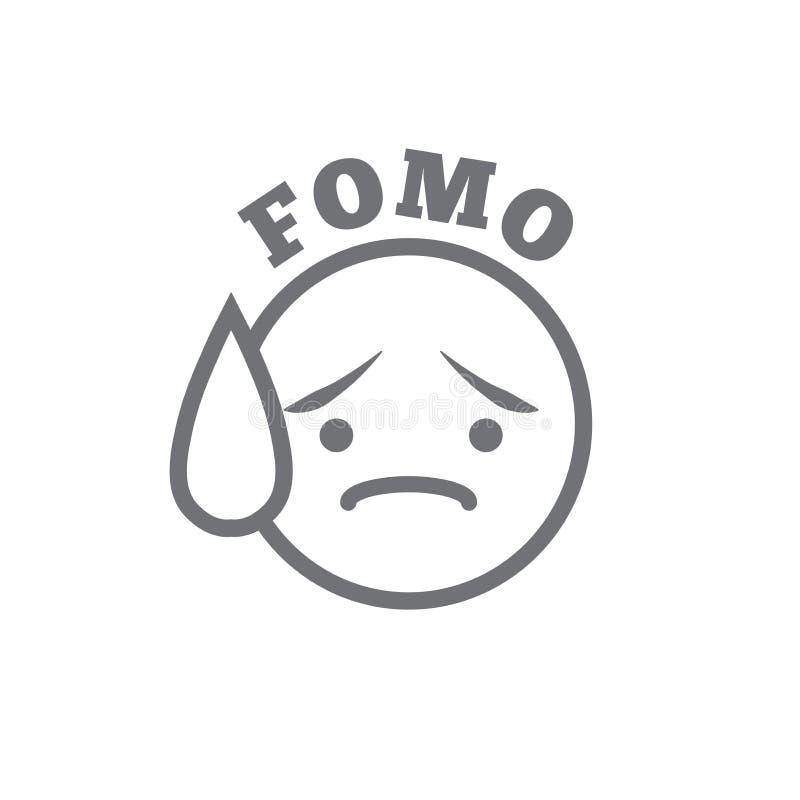 Εικονίδιο FOMO - φόβος το καθιερώνον τη μόδα σύγχρονο αρκτικόλεξο - κοινωνικό Μ διανυσματική απεικόνιση