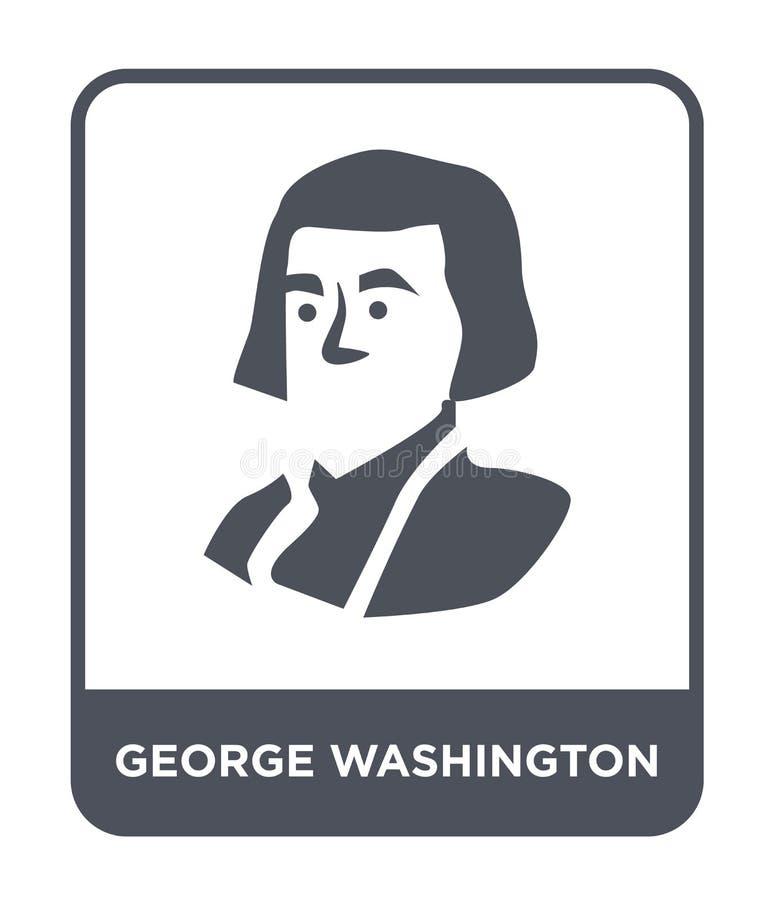εικονίδιο George Ουάσιγκτον στο καθιερώνον τη μόδα ύφος σχεδίου εικονίδιο George Ουάσιγκτον που απομονώνεται στο άσπρο υπόβαθρο δ ελεύθερη απεικόνιση δικαιώματος