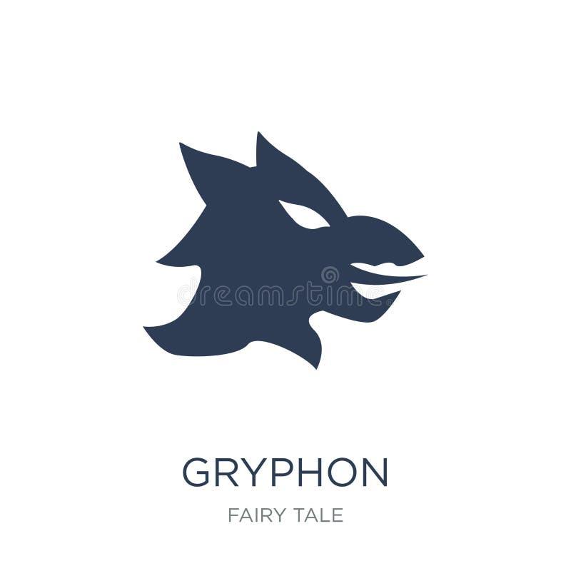 Εικονίδιο Gryphon Καθιερώνον τη μόδα επίπεδο διανυσματικό εικονίδιο Gryphon στο άσπρο backgroun διανυσματική απεικόνιση
