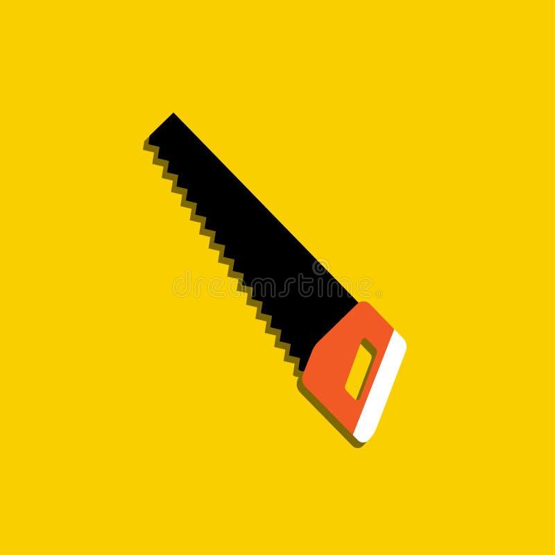 Εικονίδιο hacksaw Σύμβολο σημαδιών εργαλείων εγχώριων επισκευής και εργασίας Επίπεδο σχέδιο κινούμενων σχεδίων Κίτρινη ανασκόπηση ελεύθερη απεικόνιση δικαιώματος