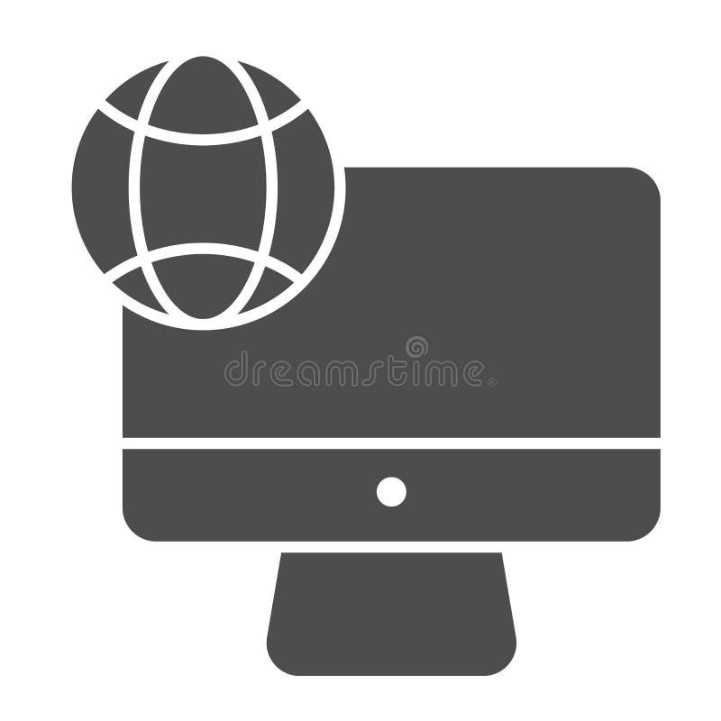 Εικονίδιο 'Internet on desktop solid' Υπολογιστής με απεικόνιση διανύσματος πλανήτη απομονωμένος σε λευκό Γλύφος δικτύου στη συσκ ελεύθερη απεικόνιση δικαιώματος