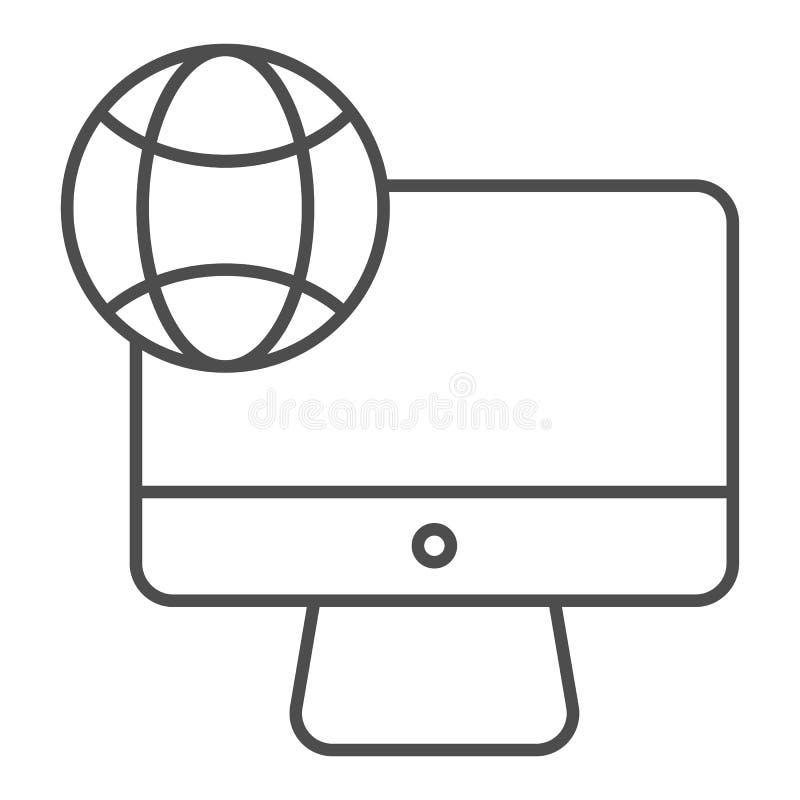Εικονίδιο 'Internet on desktop thin line' Υπολογιστής με απεικόνιση διανύσματος πλανήτη απομονωμένος σε λευκό Δίκτυο στη συσκευή διανυσματική απεικόνιση