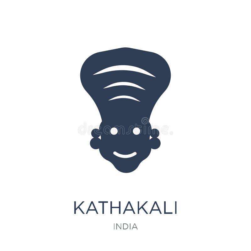 Εικονίδιο Kathakali Καθιερώνον τη μόδα επίπεδο διανυσματικό εικονίδιο Kathakali στο άσπρο backg ελεύθερη απεικόνιση δικαιώματος
