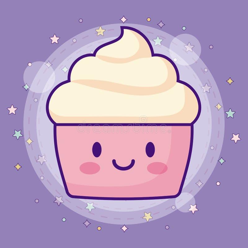 Εικονίδιο Kawaii cupcake απεικόνιση αποθεμάτων