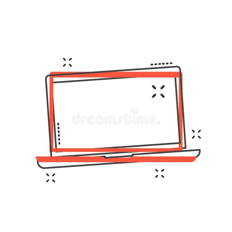 Εικονίδιο lap-top κινούμενων σχεδίων στο κωμικό ύφος Illustrati σημειωματάριων υπολογιστών απεικόνιση αποθεμάτων