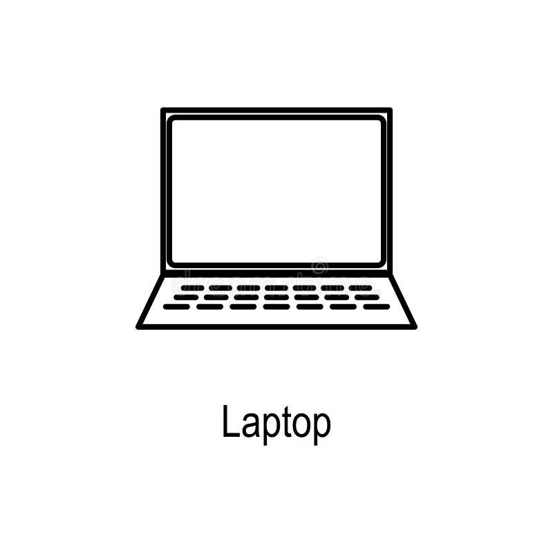 Εικονίδιο lap-top Στοιχείο του μέρους υπολογιστών για την κινητούς έννοια και τον Ιστό apps Λεπτό εικονίδιο γραμμών για το σχέδιο διανυσματική απεικόνιση