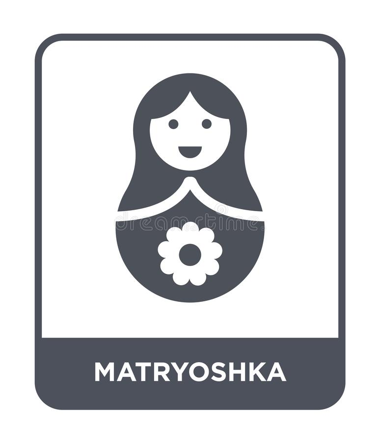 εικονίδιο matryoshka στο καθιερώνον τη μόδα ύφος σχεδίου εικονίδιο matryoshka που απομονώνεται στο άσπρο υπόβαθρο διανυσματικό ει ελεύθερη απεικόνιση δικαιώματος